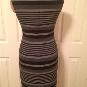 Calvin Klein black/grey stripe midi-dress